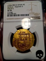 SPAIN 1556-1598 4 ESCUDOS FULL CROWN KING PHILIP NGC 45 DOUBLOON COIN GO... - $4,950.00