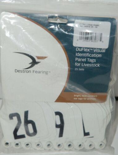 Destron Fearing DuFlex Visual ID Livestock Panel Tags XL White 25 Sets 26 to 50