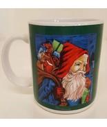 Christmas Santa Claus Green Coffee Mug Milk & Cookies Holiday Tea Cup Ho... - $19.79
