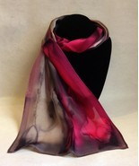 Hand Painted Silk Scarf Hot Pink Silver Charcoal Bubblegum Oblong Unique... - $56.00