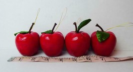 """Red Apple Ornaments 1.3/4"""" Tall Plastic Lot of 4 Apples - $6.68"""