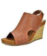 TOETOS Women's Solsoft-6 Tan Pu Mid Heel Platform Wedges Sandals - 9 M US - $22.98