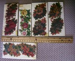 5 Vintage Victorian Roses Flowers diecut scrap embossed tole painting st... - $27.71
