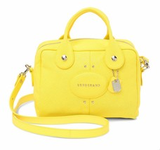 NWT LONGCHAMP Quadri Leather Bowler Satchel Bag LEMON YELLOW AUTHENTIC - $342.00