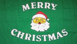 MERRY CHRISTMAS GREEN 3X5 FLAG FL113 banner XMAS w grommets SANTA CLAUS - $6.27