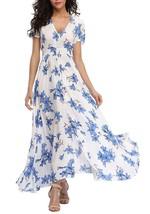 VintageClothing Women's Floral Print Maxi Dresses Boho Button up Split Beach