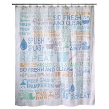 "Avanti Bath Words Fabric Shower Curtain 72x72"" New - $39.02"