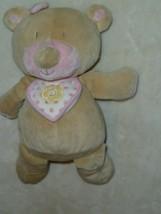 "Manhattan Baby Girl Plush First Teddy Bear Tan Pink 10"" Bib Bow 2004 Nur... - $32.59"