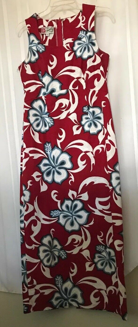 Hilo Hattie Aloha Fitted Dress Tropical Shift Red White Hibiscus Small Med 8