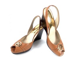 Michael Michael Kors Women's Wedges Rochelle Tan Leather Peep Toe Slingbacks 9.5 - $29.52