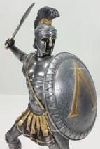 """13"""" SPARTAN GREEK WARRIOR Statue HOPLITE SHIELD SWORD Pewter & Gold Color - $65.00"""