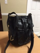 Fossil Black Leather Bucket Drawstring Bag Big - $84.04