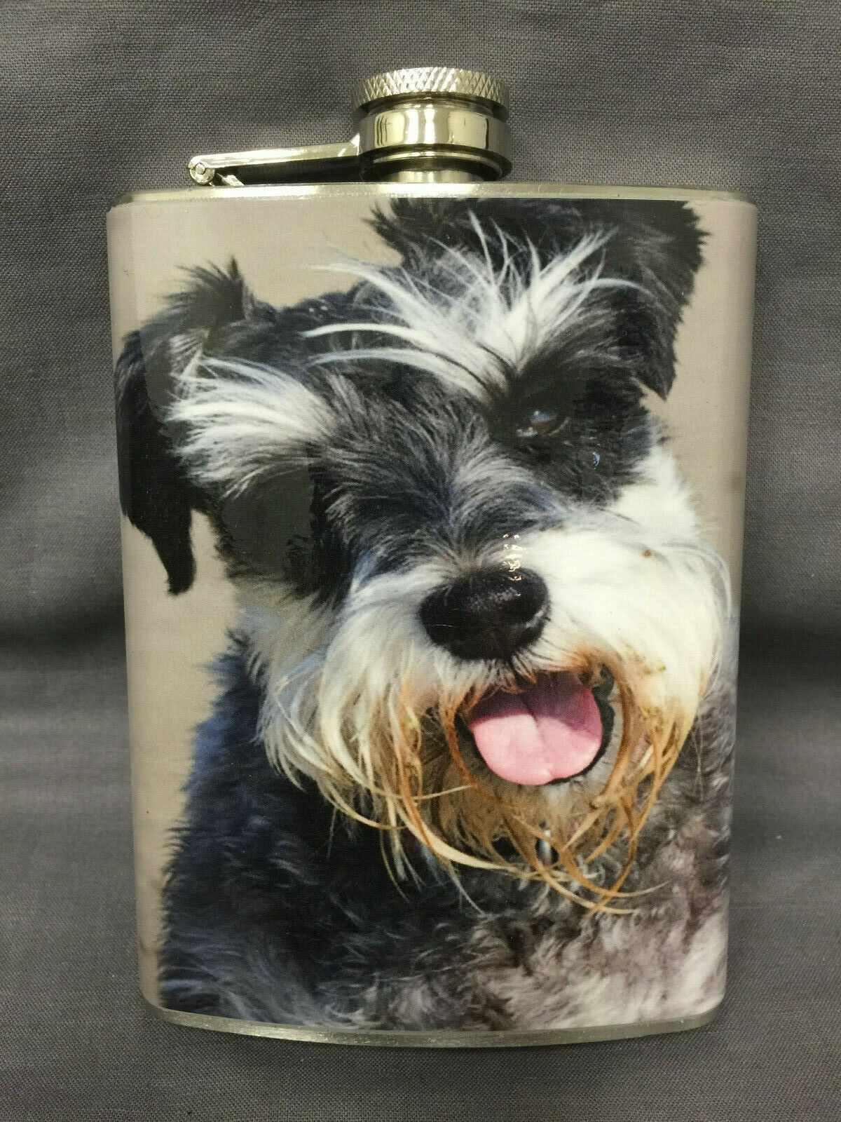 Dog Schnauzer Portrait Flask 8oz Stainless Steel Drinking Whiskey Clearance item