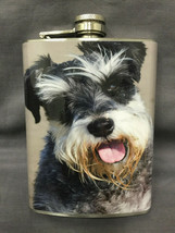 Dog Schnauzer Portrait Flask 8oz Stainless Steel Drinking Whiskey Cleara... - $9.90