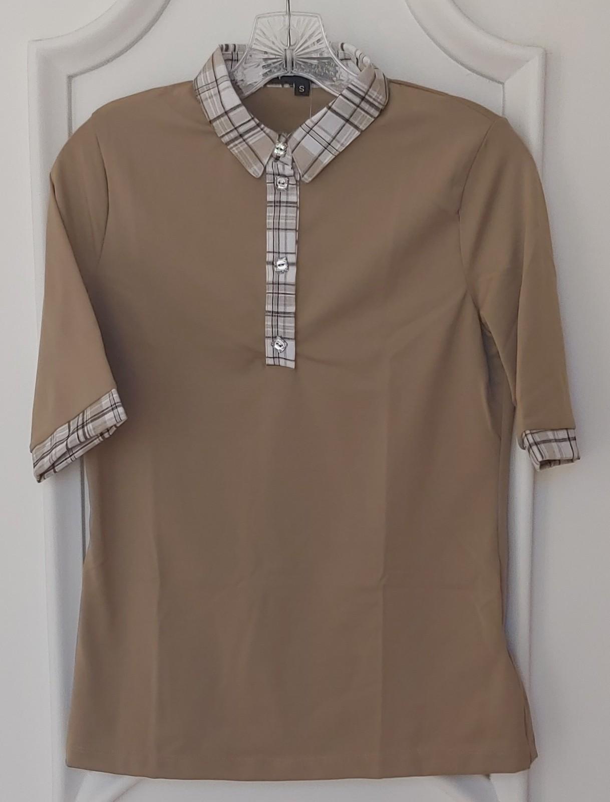 Stylish Women's Golf & Casual Tan Short Sleeve Collar Top, Swarovski Buttons