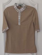 Stylish Women's Golf & Casual Tan Short Sleeve Collar Top, Swarovski But... - $29.95