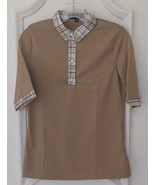 Stylish Women's Golf & Casual Tan Short Sleeve Collar Top, Swarovski But... - $29.95