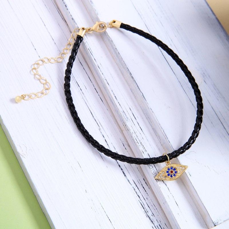 Leather Velvet Alloy Eye Pendant Choker Necklace For Women Wholesale Jewelry