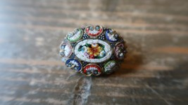 "Antique Italian Italy Mosaic Flower Floral Brooch Pin 1 1/8"" - $29.69"