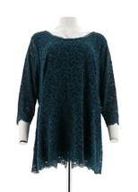 Isaac Mizrahi Stretch Floral Lace 3/4 Slv Peplum Top Deep Sea Blue L NEW... - $34.63