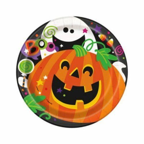 "Happy Halloween Pumpkin Ghost 8 Ct 7"" Cake Dessert Plates"