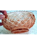 Vintage Imperial Diamond Block Pink Depression Glass Lily Bulb Bowl - $24.74