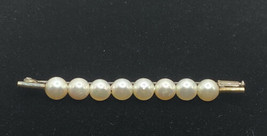 Vintage Antique Pearl Straight Pin Rare trombone closure 40's  2.5 in Goldtone - $125.00