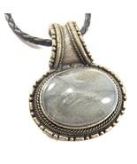 """Vintage Faux Moonstone Pendant Necklace Black Leather Silver Tone - 18"""" - $9.50"""