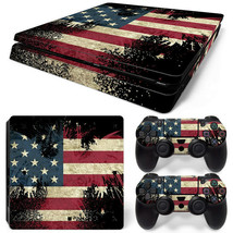 PS4 Slim American Flag Console & 2 Controllers Decal Vinyl Art Skin Wrap Sticker - $14.82