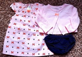 Girl's Size 0-3 M Months 3 Pc Carter's Pink Cardigan, Butterfly Dress & Navy DC - $15.00