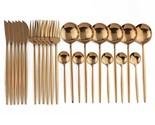 Dinnerware Spoon and Fork Set Gold or Black Stainless Steel Tableware - €40,77 EUR