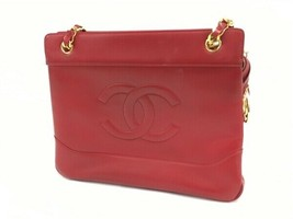 16c5134a072f Only like items. Auth Chanel stitched leather shoulder bag handbag Red  T3993492 - $1,177.10