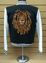 Varsity Collage Baseball BLACK/WHITE Fleece Jacket Rasta Lion With Dreads - $29.99