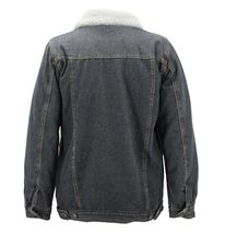 Men's Classic Button Up Sherpa Fleece Lined Cotton Denim Trucker Jean Jacket image 6