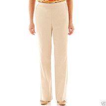 Alfred Dunner Belize Linen Beige Pull-On Pants New Size 18 Msrp $46.00 - $16.99