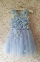 Full Flowers Embroidery Short Flower Girl Dress Blue Wedding Birthday Dress NWT image 2