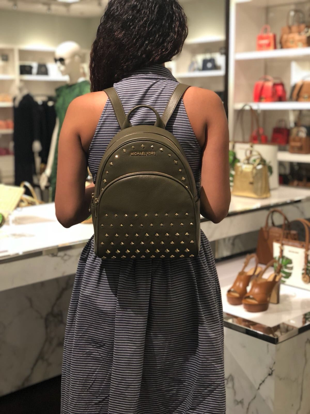 9493dbf49f5a40 S l1600. S l1600. Previous. NWT MICHAEL KORS ABBEY MEDIUM STUDDED BACKPACK  LEATHER OLIVE. NWT MICHAEL KORS ...