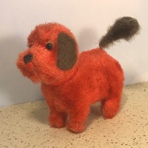 VINTAGE WIND UP WALKING ANTIQUE TOY COLLECTIBLE RED DOG PUPPY TAIL SPINS... - $44.55