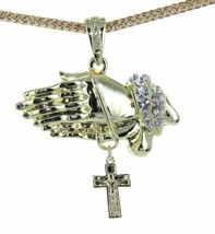 "Hip Hop Iced Out Praying Hand With Cross Pendant 36"" Franco Chain - $19.59"