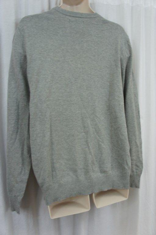 John Ashford Mens Sweater Sz XL Light Grey Heather Cotton V-Neck Casual Sweater