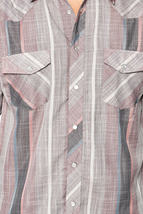 LW Men's Classic Checkered Striped Western Rodeo Pearl Snap Button Up Shirt image 4