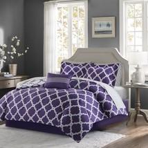 Luxury Purple & Grey Reversible Fretwork Comforter Set AND Matching Shee... - $129.99+