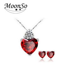 Moonso Two Gifts Real 100% Sterling Silver Red Austrian Crystal Heart Sh... - €10,48 EUR