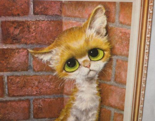 "So Cute 11"" X 14"" GIG Big Eyes Sad Kitten Cat Picture"