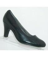 Aerosoles 'Tapestry' black leather almond toe slip on thick pump heels 8... - $28.63
