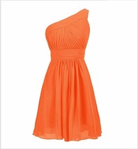 Short Cocktail Dress orange Chiffon Plus Size Bridesmaid Dress Summer Pa... - $40.22