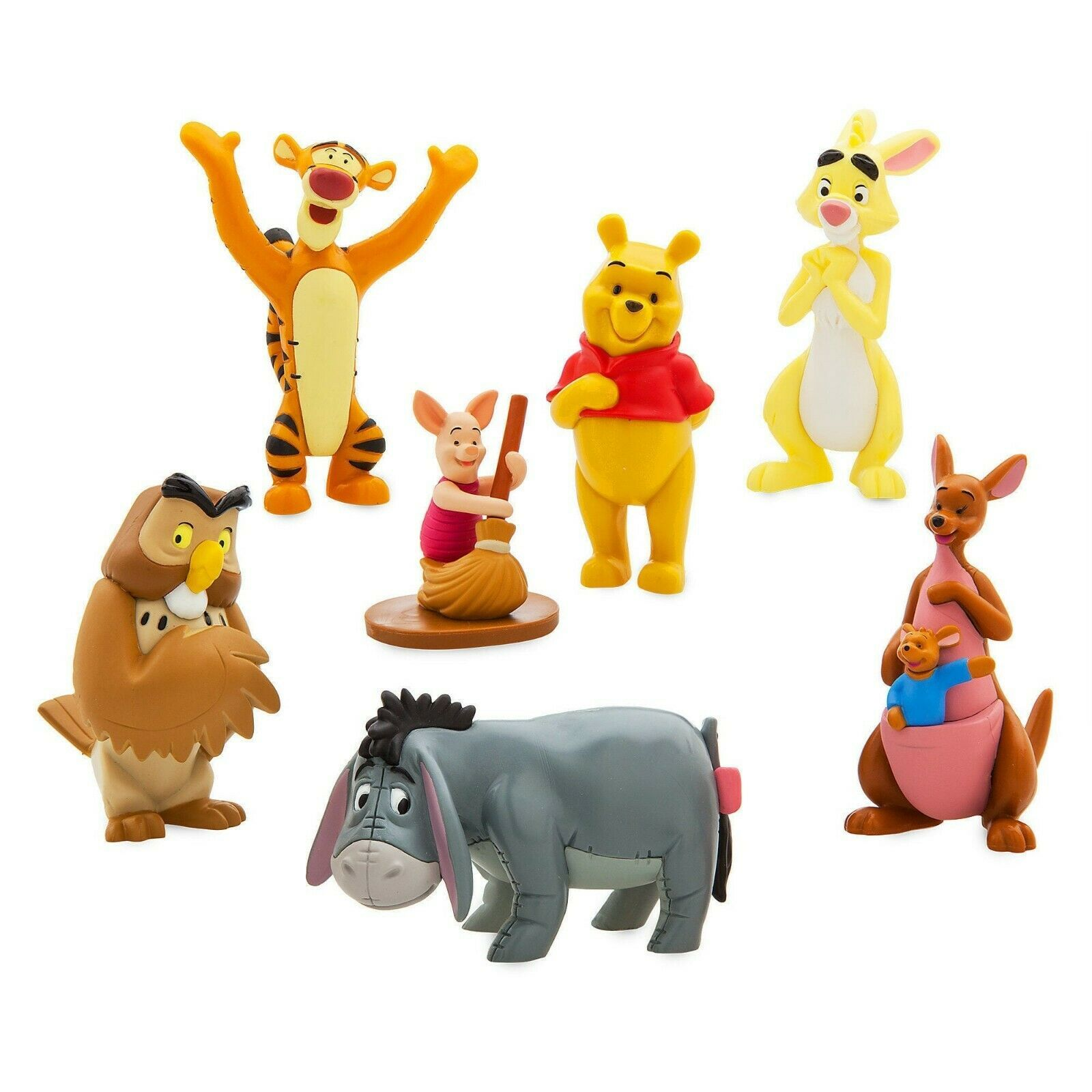 "Disney Store Winnie the Pooh 7pc Figure PVC Doll 3.5"" Figurine Playset Toy New"
