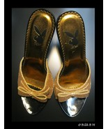 Authentic PLAYBOY BUNNY Gold Glitter Stiletto High Heels - Size 6 - Neve... - $225.00