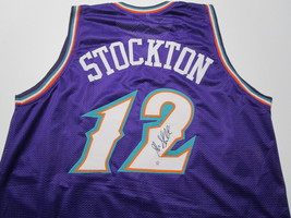JOHN STOCKTON / NBA HALL OF FAME / AUTOGRAPHED UTAH JAZZ CUSTOM JERSEY / COA  image 1