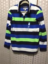 Children Place Boys Shirt XL 14 Fleece Striped  Green Blue Black 1/4 Zip - $7.69